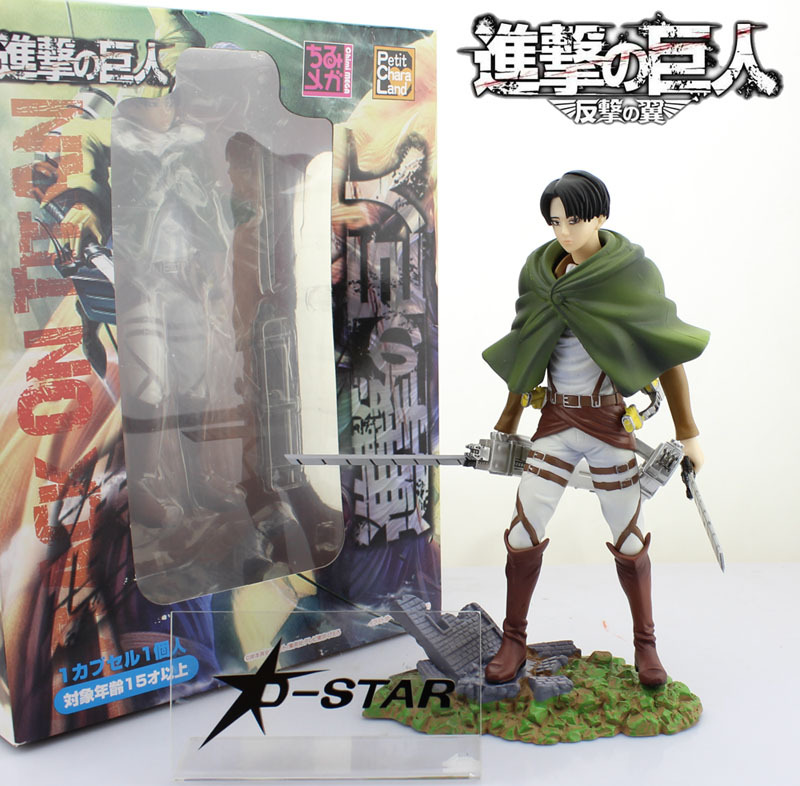 Free Shipping 9 Attack on Titan Shingeki no Kyojin Scouting Legion Levi 1/8 Boxed 22cm PVC Action Figure Collection Model Toy shingeki no kyojin attack on titan metal emblem badge rose training scout legion keychain allen