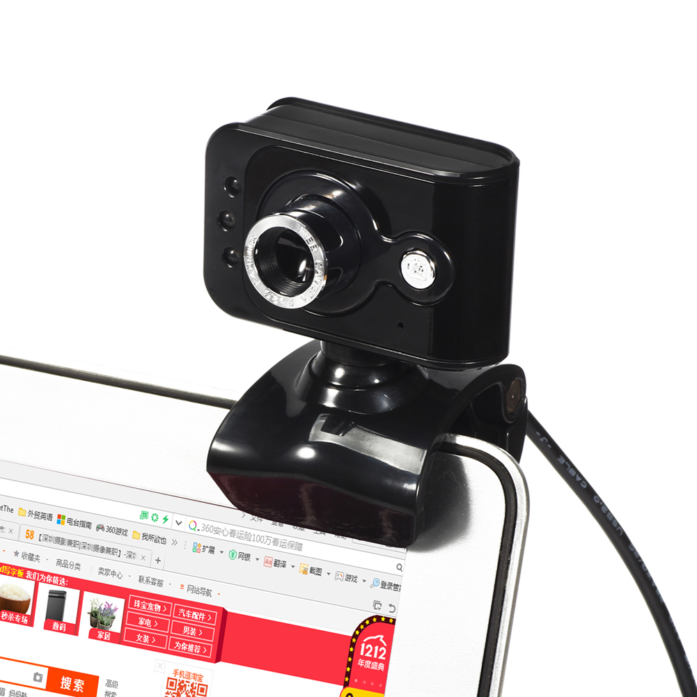 Usb 2.0 High Definition Webcam Web Camera 360 Adjustable Focus 20mp 3 Led Clip-on Webcam Built-in Mic Microphone For Pc Compute Consumer Electronics