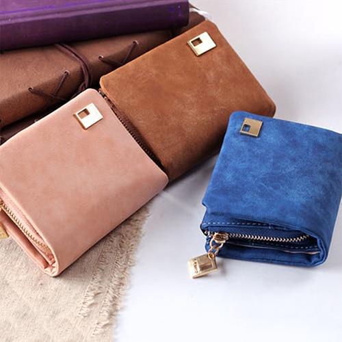 Women Matte Faux Leather Zipper Hasp Short Clutch Wallet Coin Purse Card Handbag BW3L casual weaving design card holder handbag hasp wallet for women