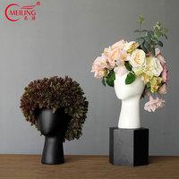 Modern Black White Head Flower Vase Planter Ceramic Home Office Room Restaurant Decor Hollow Figurine Holder Headvase Gift Ideas