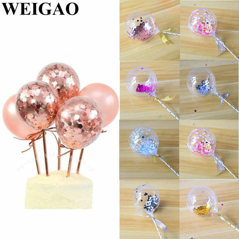 Weigao 5 Inch Rose Gold Confetti Ballon Cake Toppers Mini Latex Ballon Ambacht Voor Cake Toppers Verjaardag Cake Bruiloft Decoratie