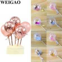 WEIGAO 5 inch Rose Gold Confetti Balloon Cake Toppers Mini Latex Balloon Craft for Cake Toppers Birthday Cake Wedding Decoration(China)