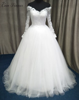 C V 2017 New Arrival Off The Shouler Long Sleeve Wedding Dress V Neck White Color
