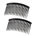 "Best Sale Women 16 Teeth Black Plastic Comb Hair Pin Clip 3.1"" Long 2 Pcs"