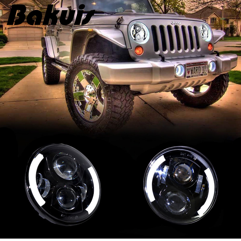 Bakuis LED 7 Inch Round Headlight White DRL Yellow Turn Signal Headlamp For Jeep Harley Davidson Motorcycle Land Cruiser & More