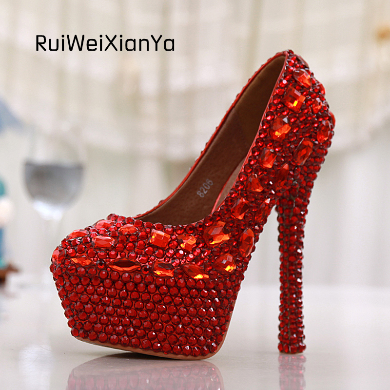 2017 New Fashion Spring Sapato Feminino Single Women Pumps High Heels Red Crystal Diamond Wedding Shoes for Bridal Plus Size Hot 2017 new fashion spring ladies pointed toe shoes woman flats crystal diamond silver wedding shoes for bridal plus size hot sale