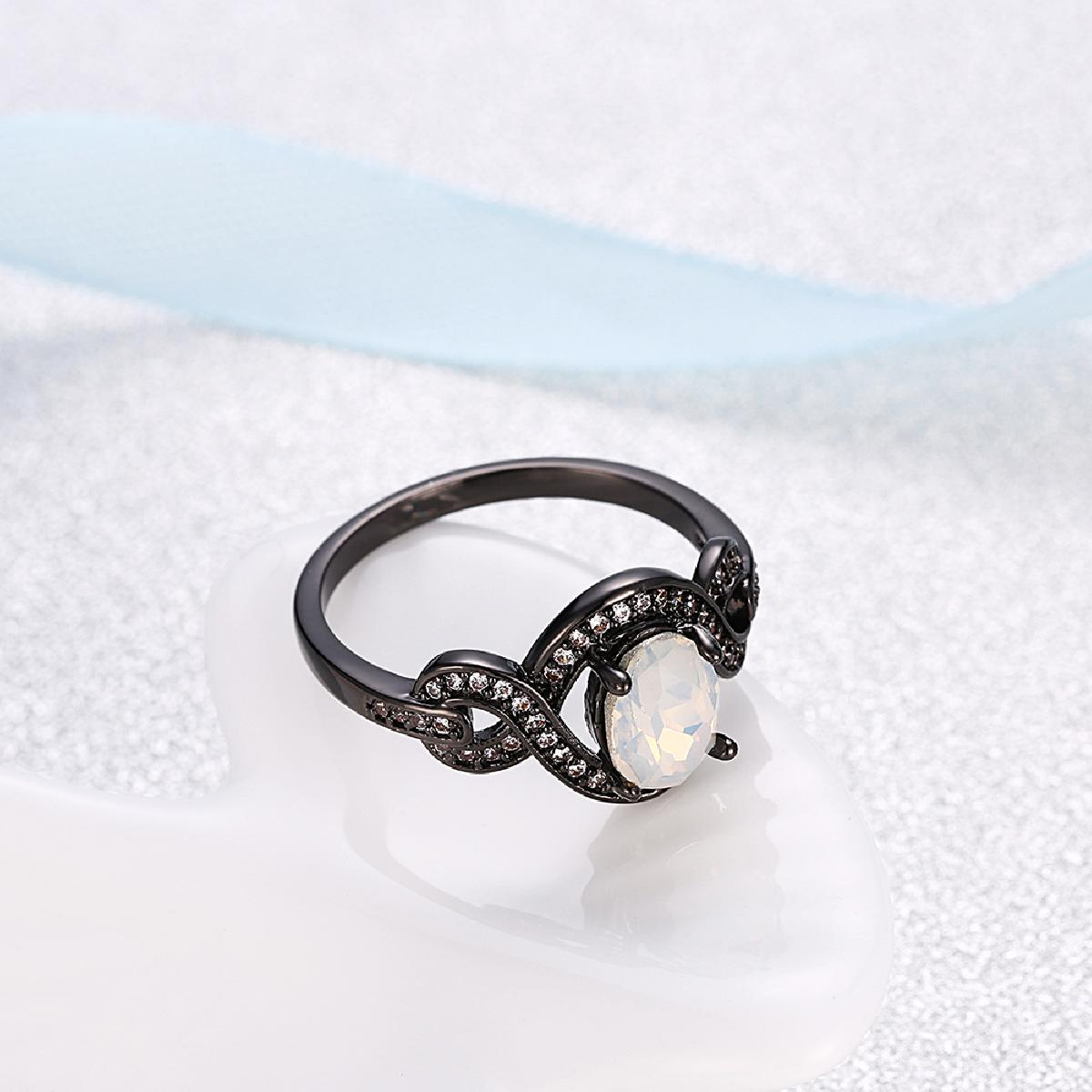 Elegant Oval white clear Opal unique Ring Fashion White CZ Wedding Jewelry Black Gold Filled Engagement Promise Rings RFME0268
