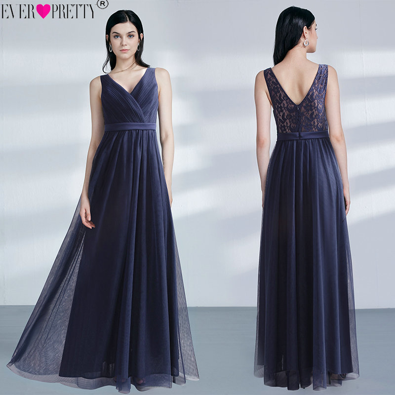 Elegant Navy Blue   Bridesmaid     Dresses   Long Ever Pretty See Through Lace Back Tulle   Dress   For Wedding Party V-neck vestido longo
