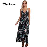 Yizekoar 2017 Women Summer Beach Boho Maxi Dress Floral Chiffon Spaghetti Straps Long Dresses Feminine Sundress