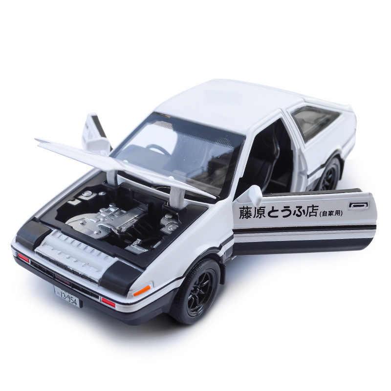 1:28 Liga Modelos de Carros de Toyota Corolla AE86 Trueno Inicial D Metal Diecast Rápido Auto Pull Back Brinquedos Supercarro Para Coleção
