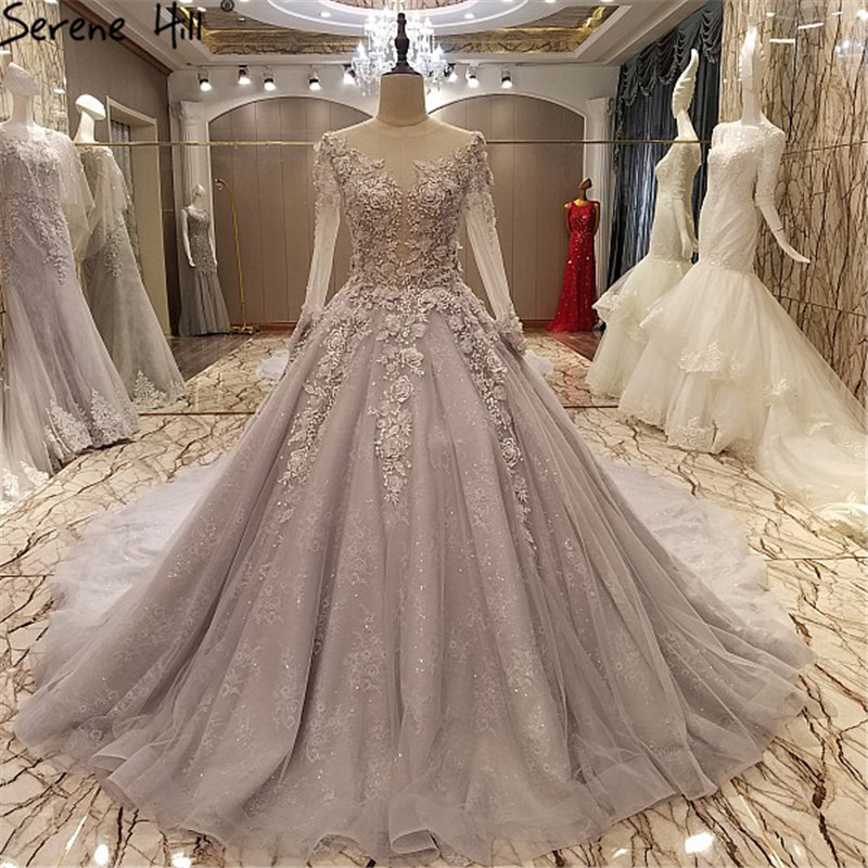 Vestido De Noiva Long Sleeve Wedding Dress Grey Appliques Pearls ...