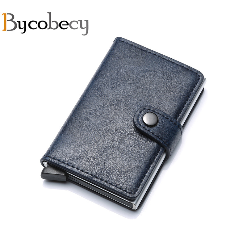 Bycobecy Business Card Holder RFID Aluminium Alloy Credit Card Case Metal Wallet Antitheft Wallets Automatic Pop Up Card Case elegant metal business card case