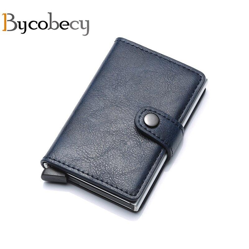 Bycobecy tarjeta de visita RFID aleación de aluminio tarjeta de crédito Metal cartera Antitheft carteras automático Pop Up tarjeta