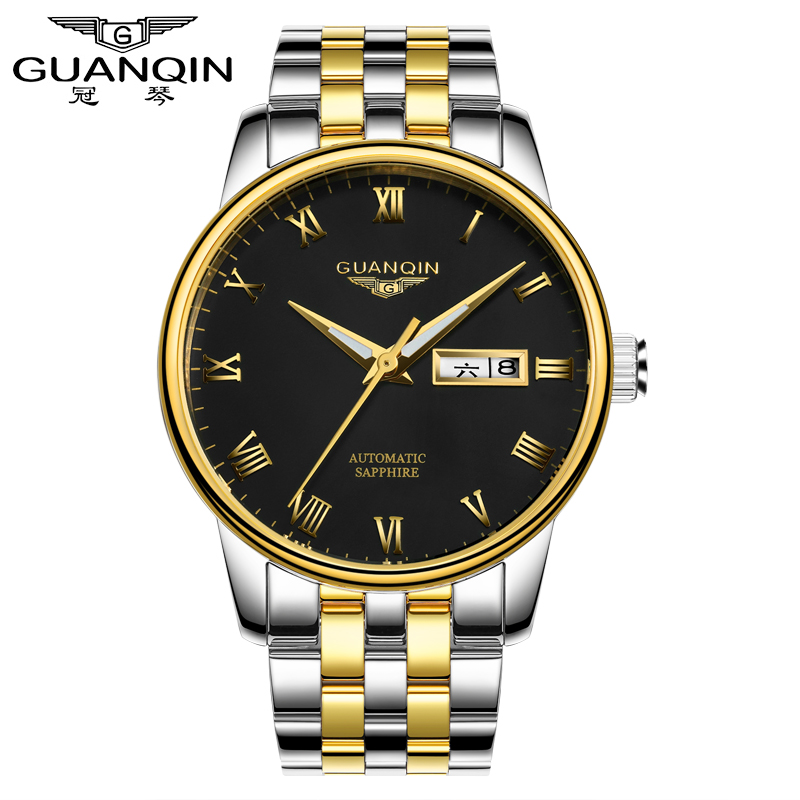 GUANQIN GJ16025-A Men Mechanical Watches Brand Watch Men Mens Mechanical Watches Automatic Best Gift For Yourself and Friends unique smooth case pocket watch mechanical automatic watches with pendant chain necklace men women gift relogio de bolso