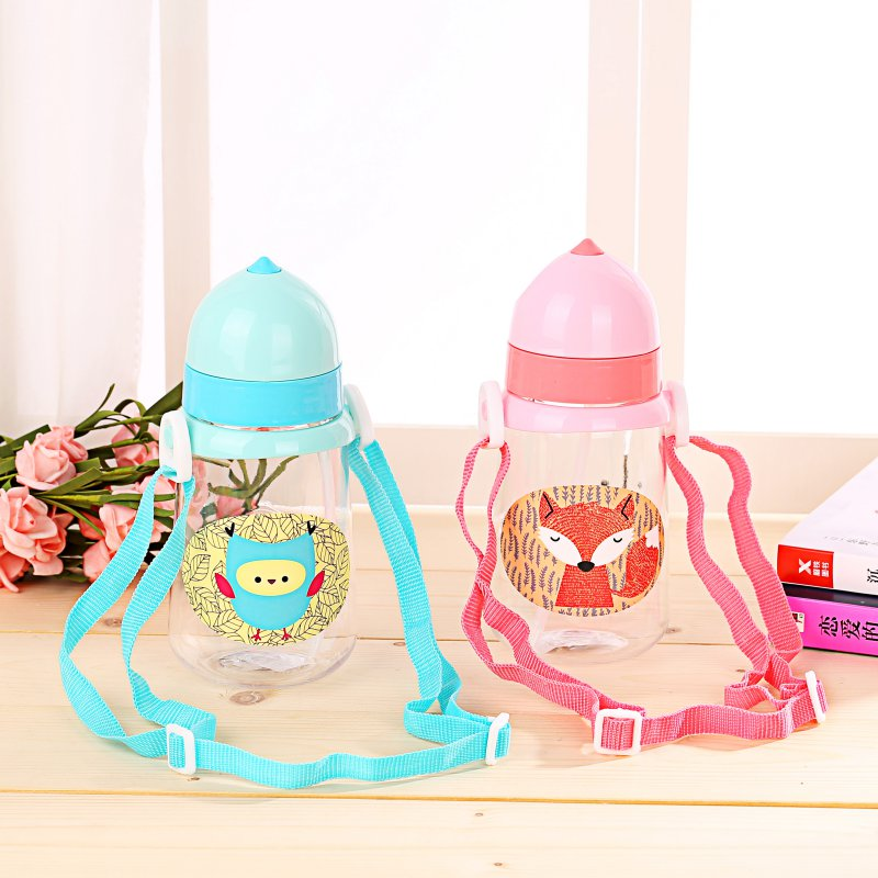 Kid Feeding Bottles Sippy Training Infantil Infant Baby Drinking Cup with a Straw Portable Rope