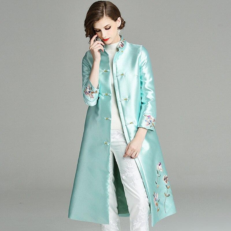 Automne Broderie Luxueuse Top Outwear Manteau Boutonnage Trench Xxl Femmes Nouvelle Apricot 2018 Qualité Pardessus Hiver Long blueqq Simple wHHxtvz