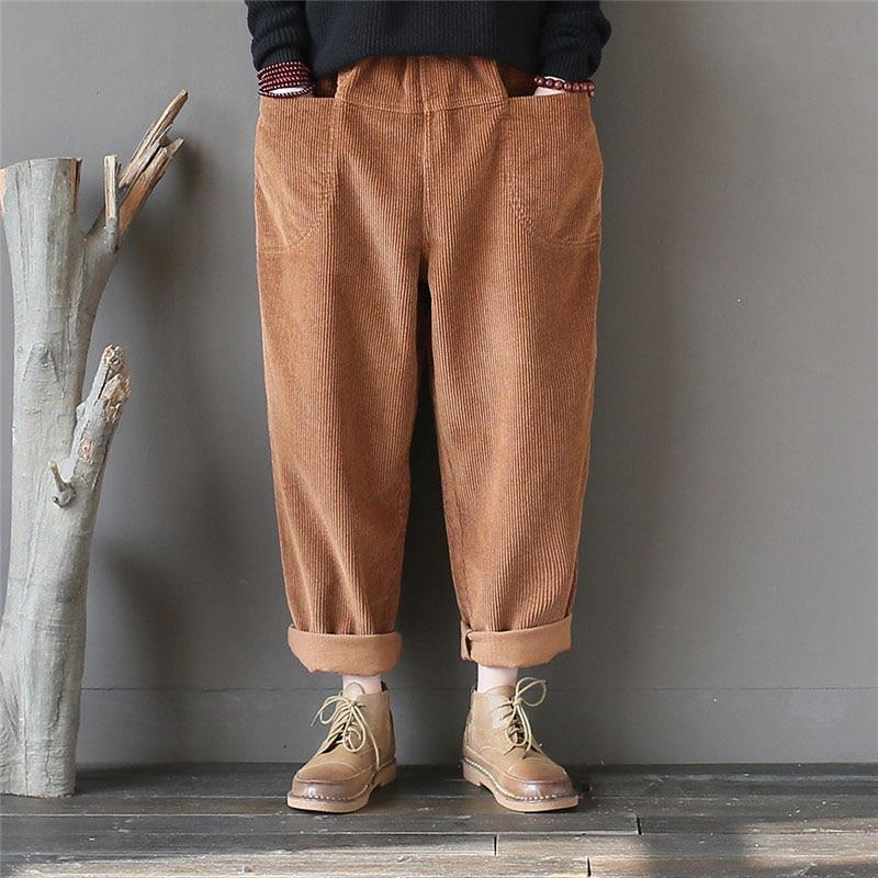 Femmes Chaud Côtelé Coton Poches kaki Velours Élastique gris Taille Casual Femelle Avec Vintage Printemps Qpfjqd En D'hiver Noir Pantalon Automne YqIfYxdv