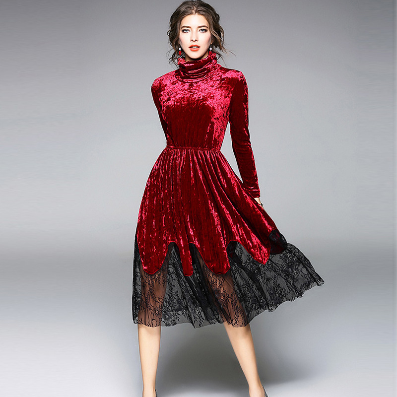 spring women velvet dress bohemian style long sleeve lace