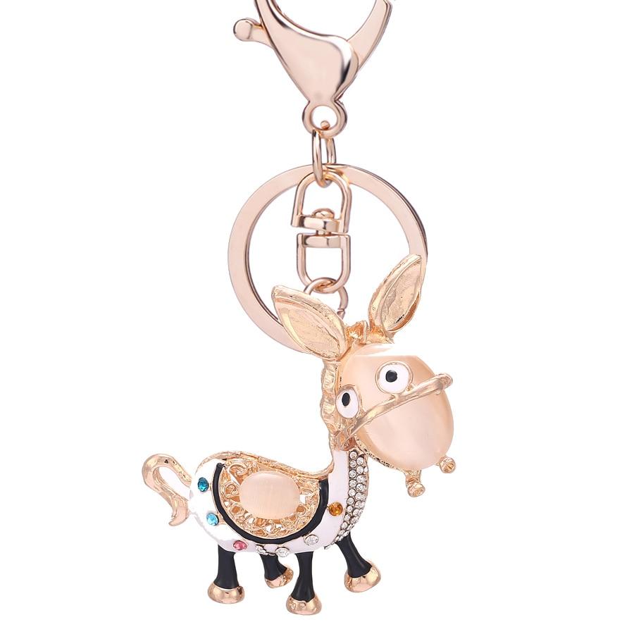 Rhinestone Animal Donkey Key Chain Ring Holder Novelty Trinket Charm Crystal Car Keyfobs Bag Keychain Creative Jewelry Gift R085