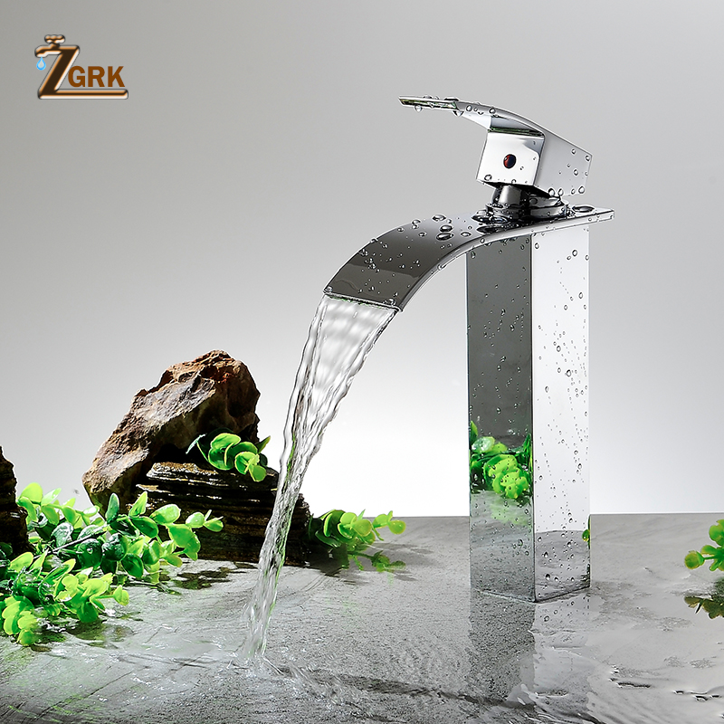 ZGRK смеситель для раковины, современный белый кран для ванной комнаты, кран для водопада, одно отверстие, кран для холодной и горячей воды, Че...