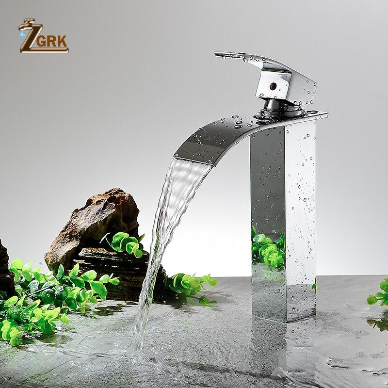 ZGRK robinet de lavabo moderne blanc robinet de salle de bain robinets cascade monotrou robinet d'eau froide et chaude robinet de lavabo noir robinet mitigeur - 3