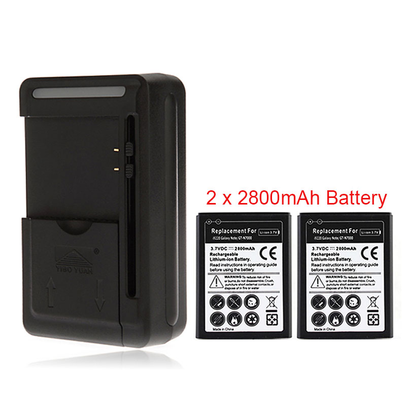 Welp 2x 2800mah Battery with Wall Charger for Samsung Galaxy Note i9220 XL-41