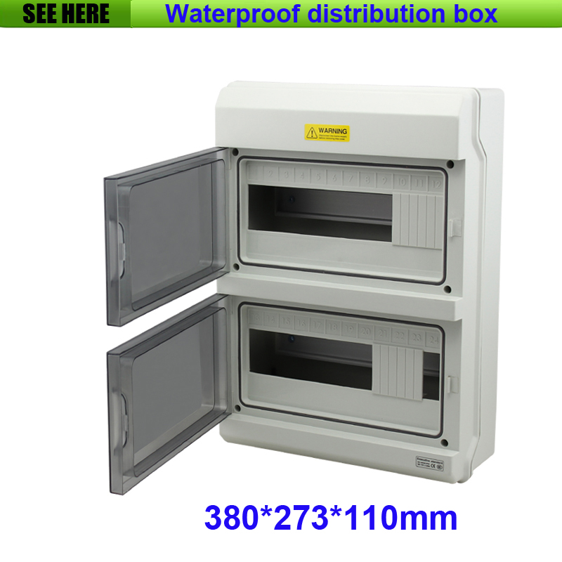 цена на Top Grade PC Material IP66 Outdoor Waterproof Distribution Box 24Way Electrical Power Distribution Box 380*273*110mm