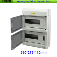 Top Grade PC Material IP66 Outdoor Waterproof Distribution Box 24Way Electrical Power Distribution Box 380*273*110mm