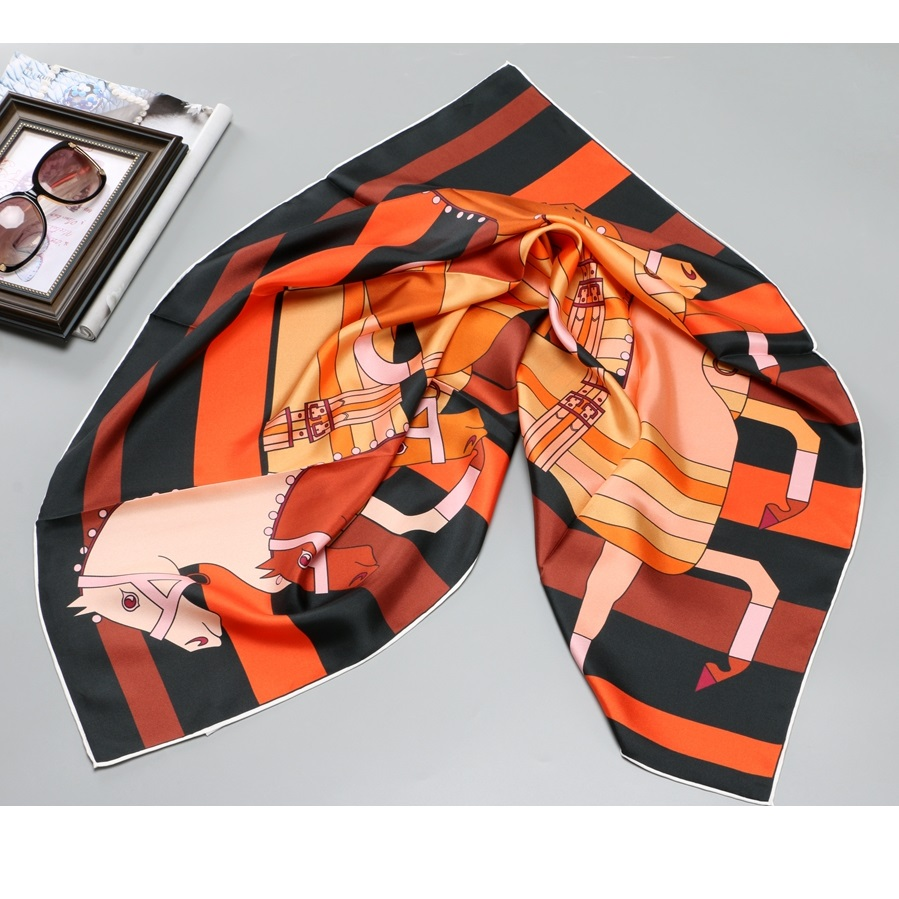 Horse Print Fashion 100% Silk   Scarf     Wraps   Women Large Square Silk Shawl Hijab Head   Scarves   Foulard 90*90cm