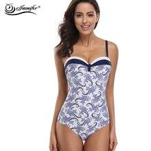 JAONIFER Swimwear Women One Piece Swimsuit  Bathing Suits Vintage Summer Beach Wear SwimSuit Women Backless Swimwear