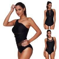 ALANSBEACH Solid Black Mesh Bodysuit Swimwear Women Bikinis Sets One Piece Swimsuits Bathing Suits Plus Size