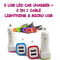 Led Car-charger Real 2A 2 USB Car Charger Power Adapter + 2 in 1 Charging Cable For Micro USB And For Iphone 6 5