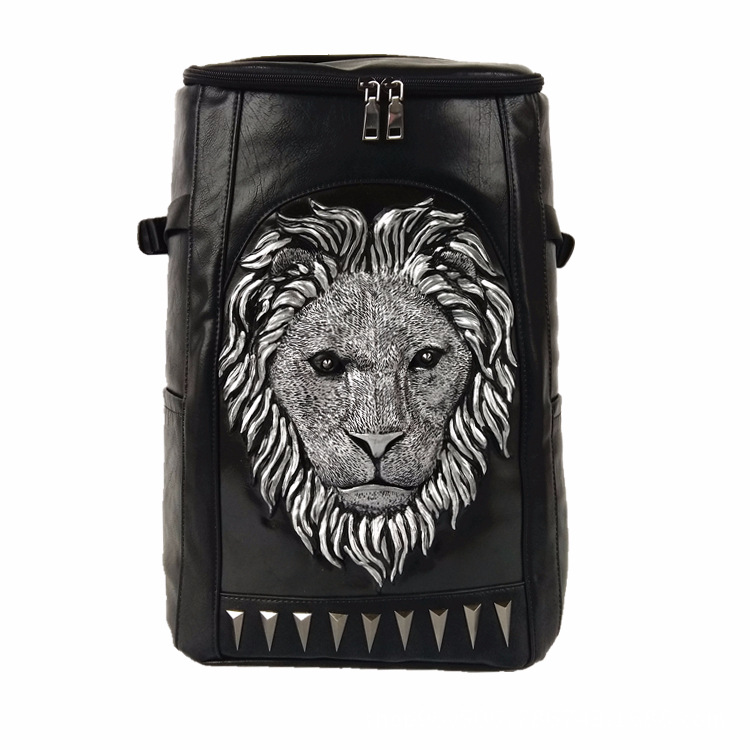 3d Embossed Lion Head Bucket Soft Backpack With Stunning Spikes Cool Leather Travel School Bagpack Punk Rock Concert Bags #3
