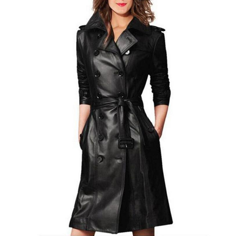Plus Size 3XL Womens Fashion PU leather Trench Coat New Autumn Winter Double Breasted black windbreaker With Belt a544