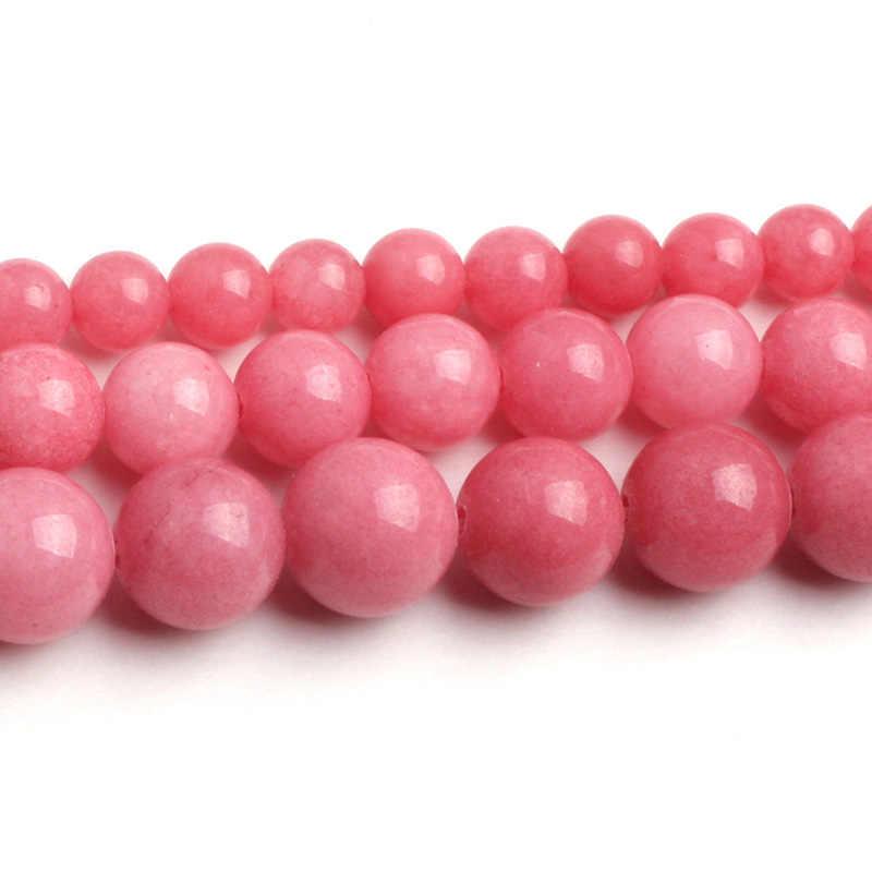 6-10mm okrągłe gładkie ciemny różowy Jades koraliki do tworzenia biżuterii koraliki 15 cal DIY koraliki naszyjnik bransoletki dla kobiet ozdoba prezent