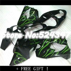 Hey-Hey-Hot Sales,customize Green flame Fairing kit for kawasaki ninja 2000 2001 ZX-9R ZX 9R 00-01 ZX9R 00 01 motobike fairings(China)