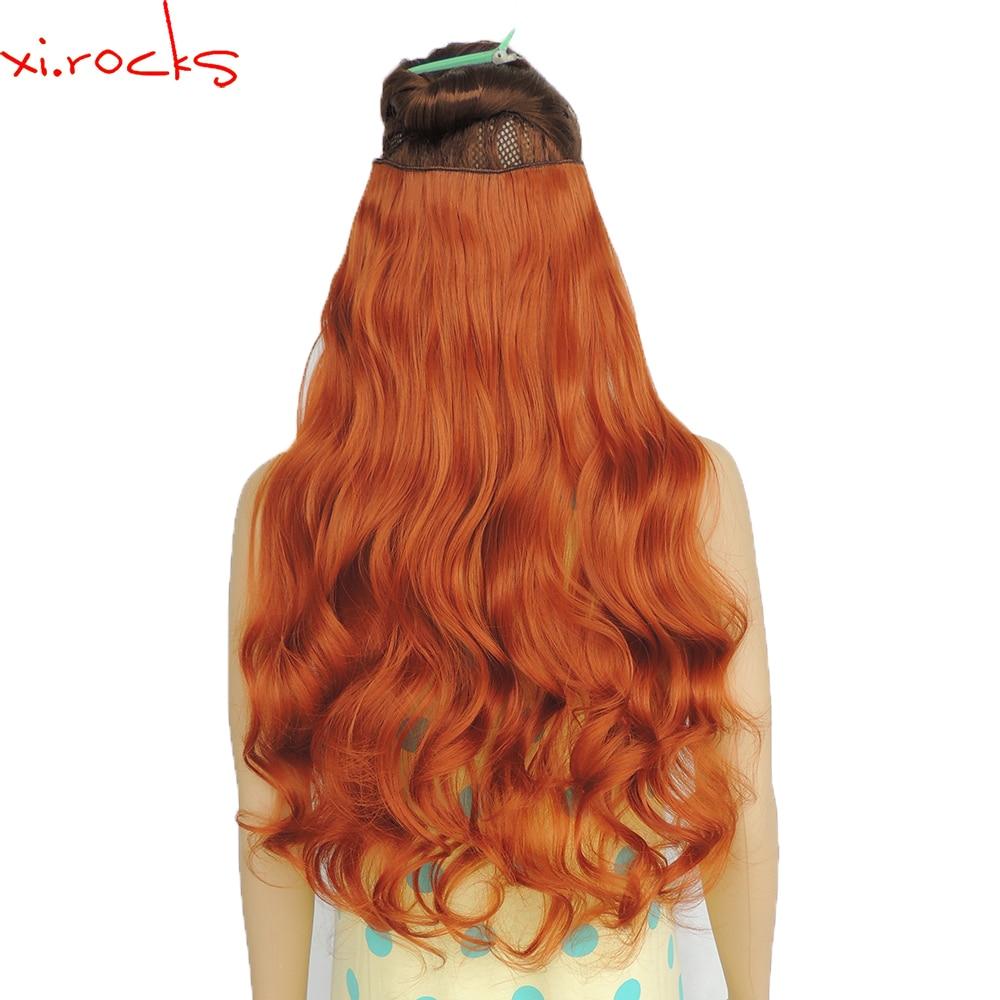 "2 Piece Xi. Rocks סינטטי 5 קליפ בהארכת שיער 70 ס""מ הרחבות קליפים שיער 120 גרם מתולתל פאה סיכת ראש נחושת צבע אדום 119"