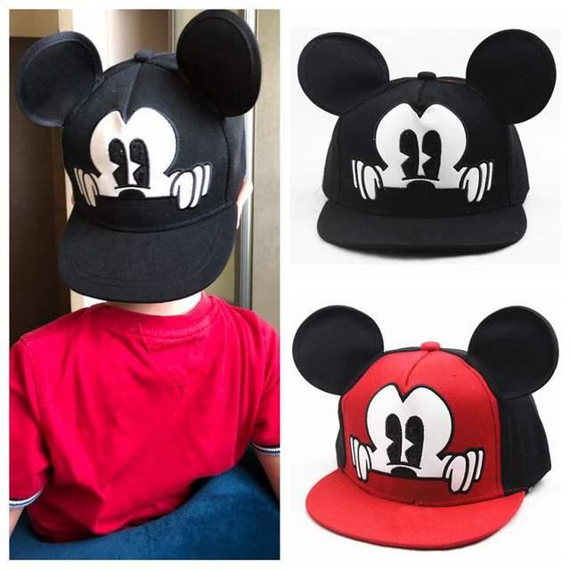 Kids Cartoon Mouse Ear Baseball Cap Adjustable Cotton Snapback Hat Boys Girls Hip Hop Cap Spring Summer Children Sun Hat