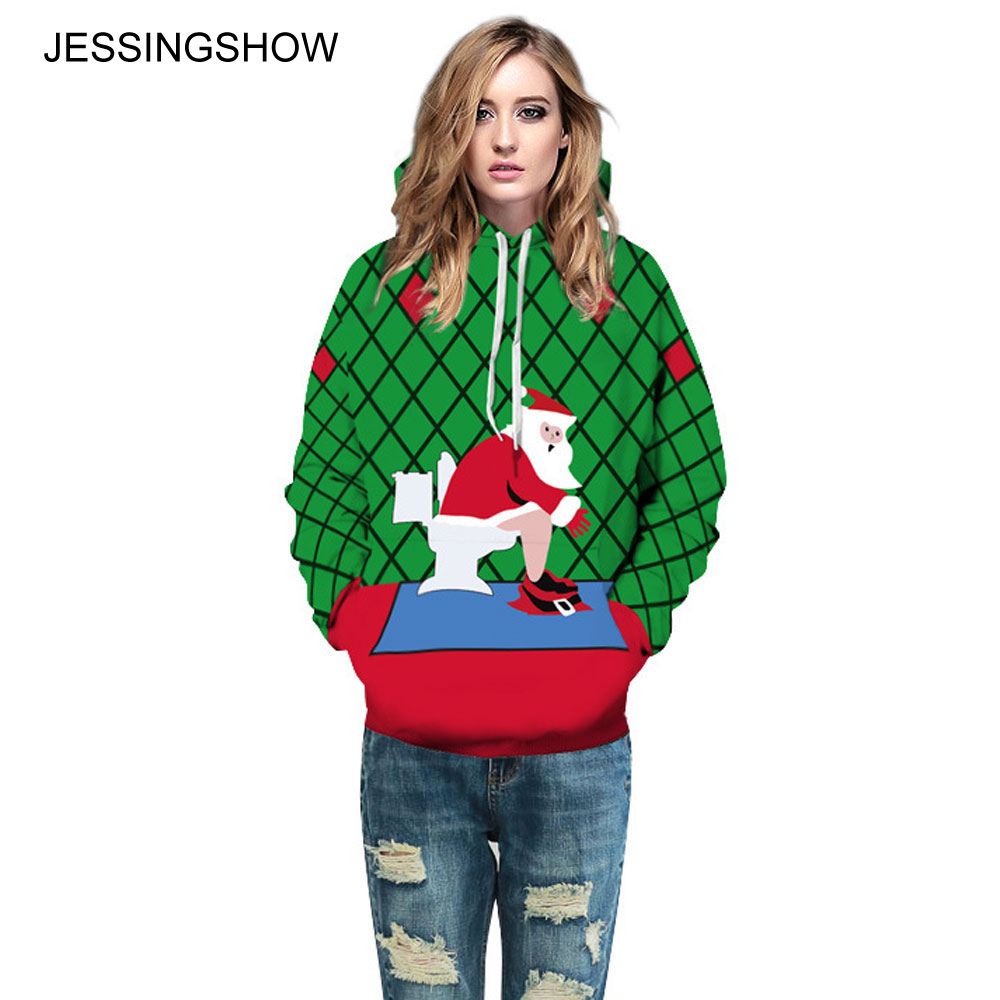 JESSINGSHOW Unisex Christmas Hoodies Sweatshirt Spoof Santa Claus Printed Pullover Leisure Hooded Hoodie Loose Tops Women Men