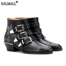 a833c420265 KALMALL Fashion Susanna Shoes Woman Rivet Studded Spiked Motorcycle Botas  Three Pin-buckle Straps Stacked