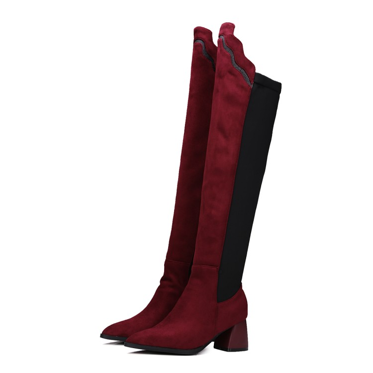 2017 Botas Mujer Big Size 34-43 brand Design Over The Knee Boots Thick Sole Slim Long Winter Autumn Sexy high heels 78-5