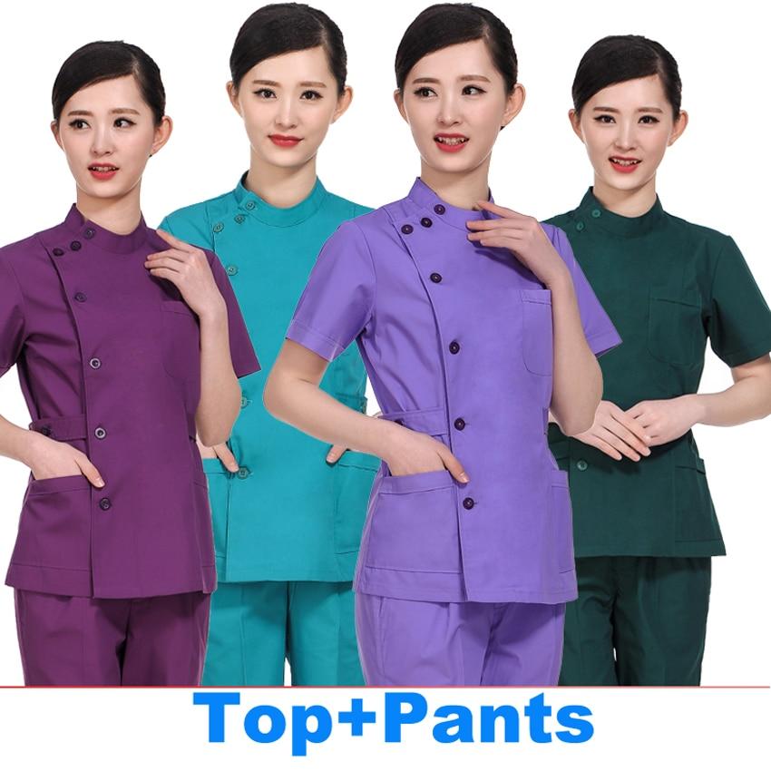 2019 Medical Clothing Women Work Wear Medical Set 2pcs Top+pants 35%cotton 65% Polyester Lab Coat Women Nurse Uniform 17 Colors