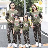 Family Suits 2pcs T shirt Tops+Pant Camouflage Letter for Dad Mom Kids Family Matching Clothing Long Sleeve Clothes Outerwear