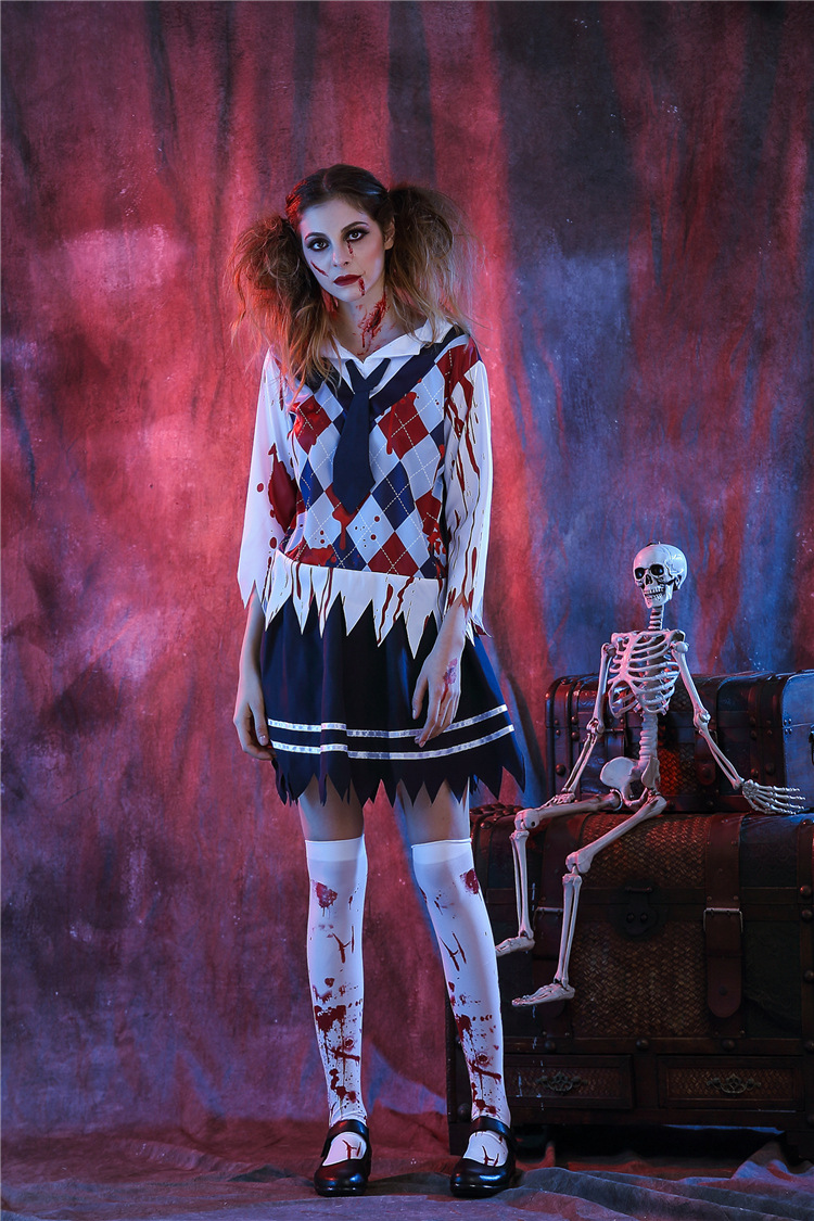 Free Shipping Halloween Halloween Adult Girl COS Costume Ghost Festival Horror Bloody Student Girl with Bloodstained Nurse Set
