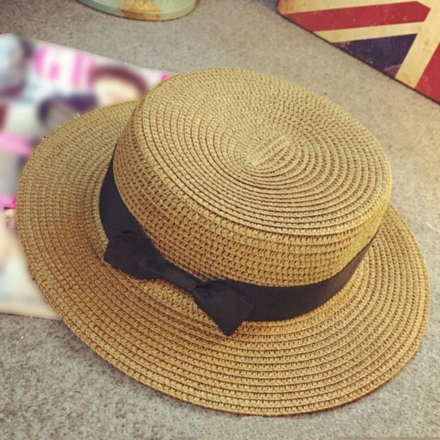 62b90fc1 2018 Hot Summer Women Boater Beach Hat Female Casual Panama Hat Lady Brand  Classic Flat Bowknot Straw Sun Hat Women Fedora