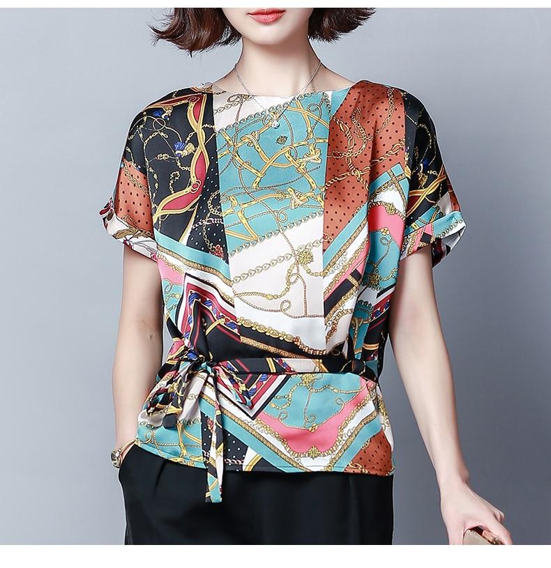 Plus Size 2019 Summer New Short Sleeved geometric Print Women's   Blouses     Shirts   Casual Red Women Tops Fashion Chiffon Print 909F3