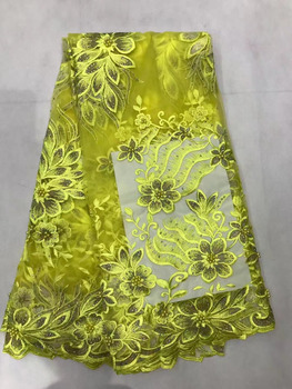 Hot Selling Products Latest African Lace High Quality French Lace Fabric With Beaded And Stonens For Wedding Dress AFL109 Yellow
