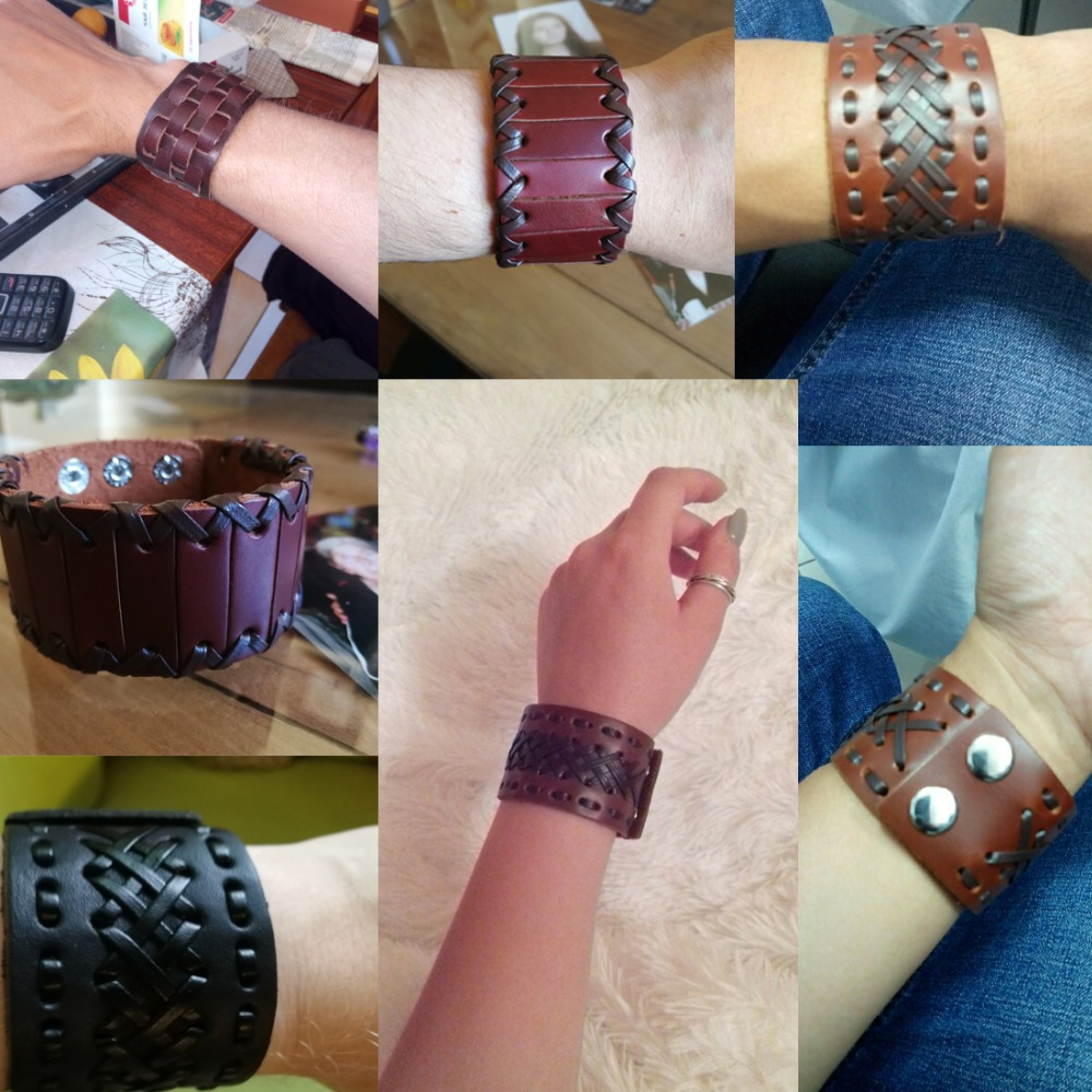 Genuine Brown Leather Engraved Flower Link Cuff Bangle Length 7