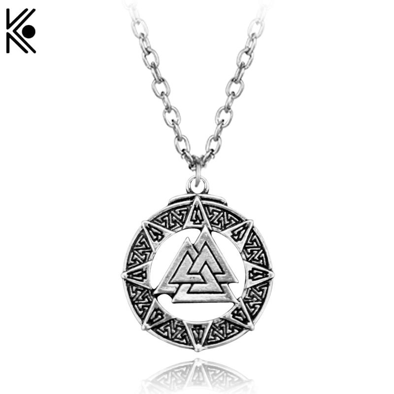Valknut Pendant Necklace Viking Necklaces Norse Pendant Hrunger Valknut Rebirth pregnancy and regeneration Symbol Mens Gift
