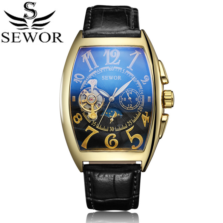 цена Gold Tourbillon Mechanical Watch Retro Designer Rectangle Black Leather Men Casual Watches Men Luxury Brand SEWOR Clock New